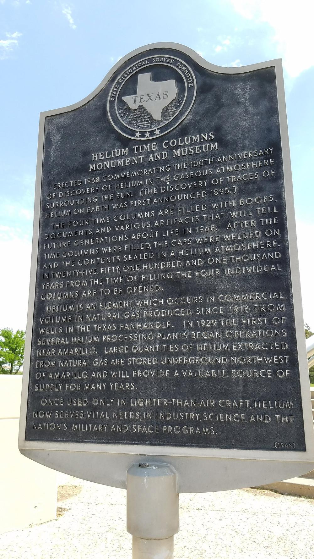 Helium Time Columns Monument & Museum plaque