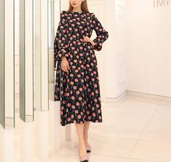 Lise black blossom dress
