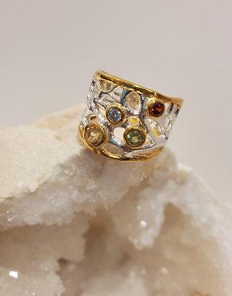 Multi semi precious stone ring