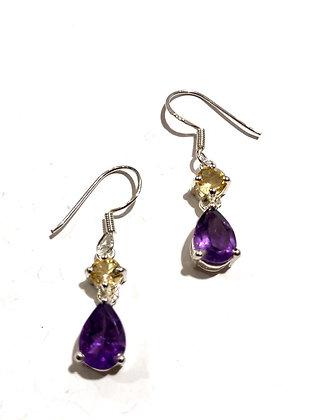 Amethyst and Citrine earrings