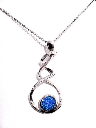 Fire Opal, CZ necklace