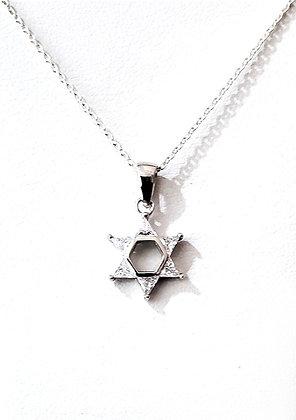 Cubic zirconia Jewish star necklace