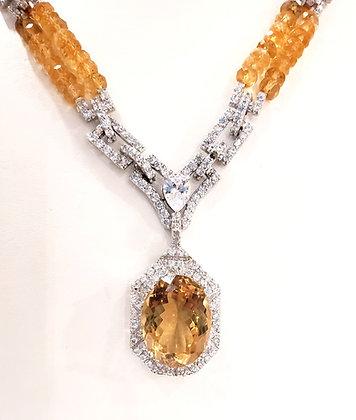 Citrine, CZ necklace
