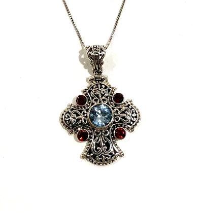 Blue topaz and Garnet necklace
