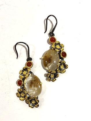 Golden rutilated quartz, carnelian earrings