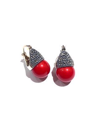 Coral and Marcasite earrings