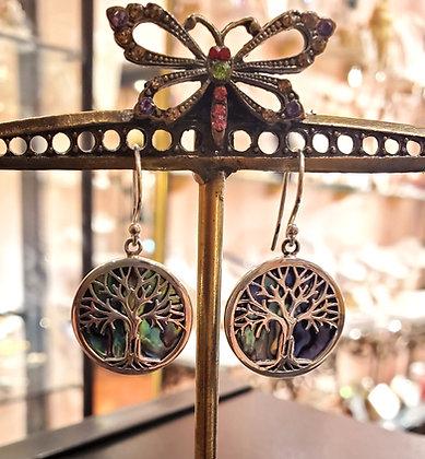 Abalone tree of life earrings