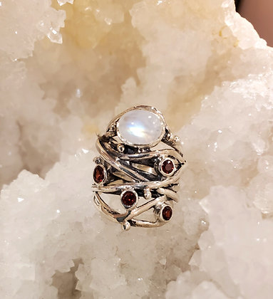 Moon stone, Garnet ring