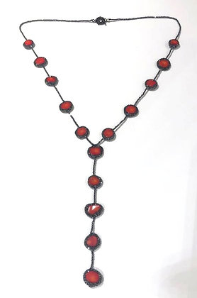 Coral, Hematite necklace