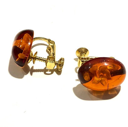 Clip on Amber earrings