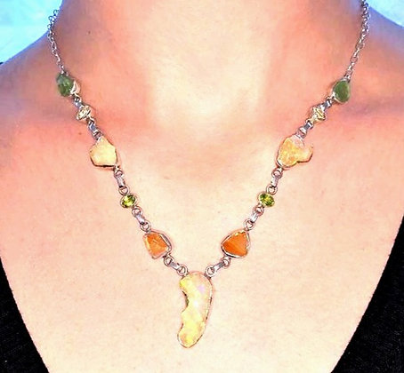 Ethiopian opal, Peridot necklace