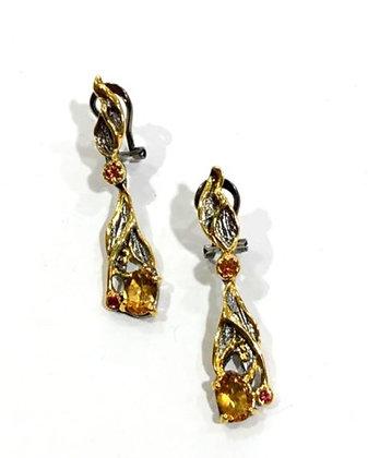 Pink sapphire, Citrine earrings