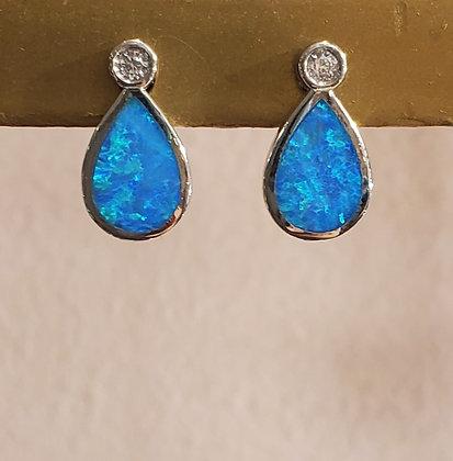 Fire Opal, CZ earrings