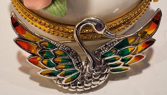 Swan Marcasite, Venice glass brooch