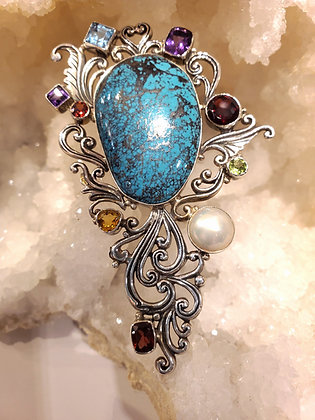 Turquoise,Garnet, Pearl, Citrine, Peridot, Amethyst and Blue topaz brooch
