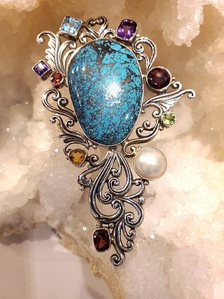 Turquoise,Garnet, Pearl, Citrine, Peridot, Amethyst and Blue topaz brooch