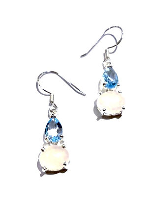 Moon stone and Blue topaz earrings