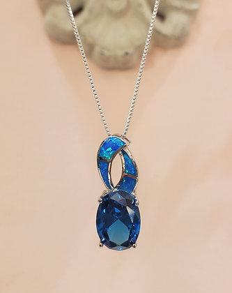 Fire Opal, Blue Topaz necklace
