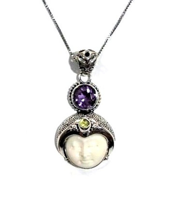 Amethyst, Peridot and Mother of pearl necklace