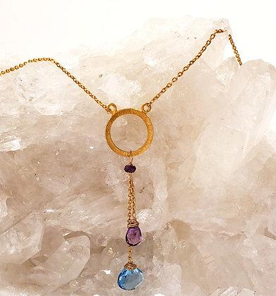 Amethyst, Blue topaz necklace