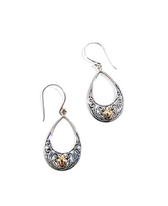 18k Gold and sterling silver earrings
