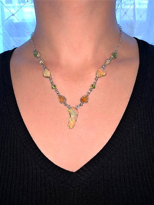 Ethiopian opal and Peridot necklace