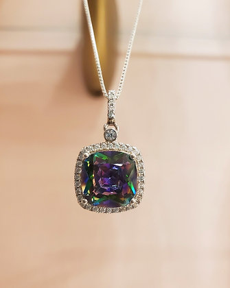 Mystic topaz, CZ necklace