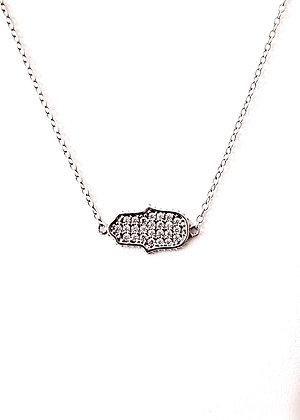 Cubic zirconia Hamsa necklace