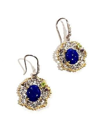 Lapis, Peridot, Amethyst earrings