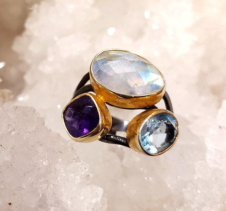 Moon stone, Amethyst, Blue topaz ring