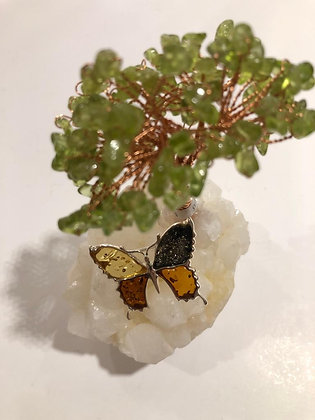 Honey and green Amber brooch