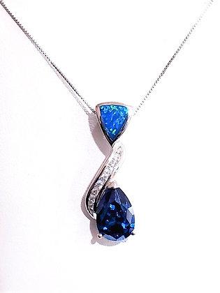 Fire Opal, Blue Topaz, CZ necklace