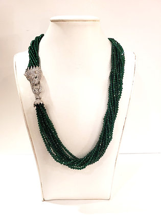 Green crystal and Cubic Zirconia necklace