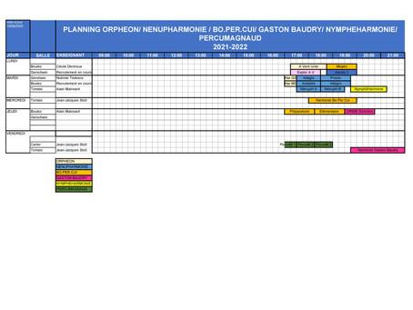 Planning prévisionnel des cours de l'année 2021/22.