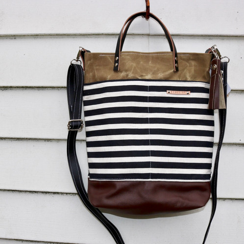 """3e5280ee4 Z + Bee co. Carpenter Crossbody Bag - measures approx 12"""" x 14"""" with a 1.5""""  base - Original design - (Bees)Waxed Canvas and accent fabric exterior, ..."""