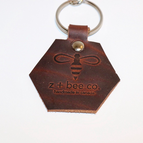 Honeycomb Key Chain - Rustic Brown