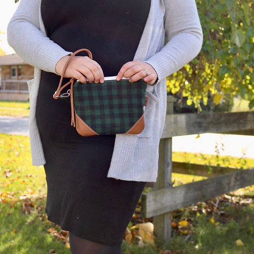 The Cleo Wristlet in Gingham Plaid