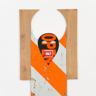 Open Only, 2014 found signage, contact paper, wood 29 x 19 in.