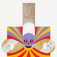 Tethered, 2011 acrylic paint, found objects, wood 31.5 x 29.75 in