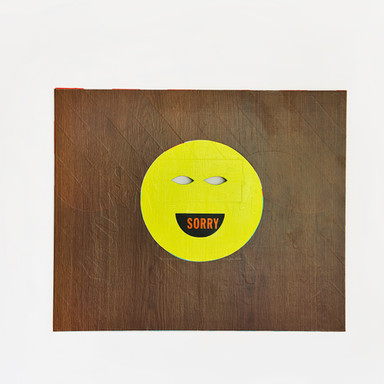 Sorry, 2013 paint, vinyl, found material on wood 22.75 x 27.25 in.