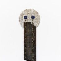 no title (crying chains), 2016 acrylics, indigo dye, wallpaper and found objects on wood 37 x 12 x 2.5 in.