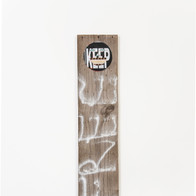 Keep, 2014 paint, metal signage, cloth, wood 48 x 11 x 2 in.