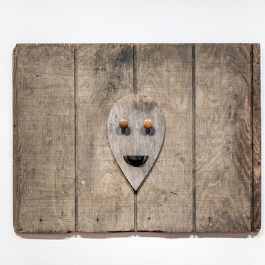 no title, 2016 wood and found objects on wood 26 x 33 x 1.5 in.