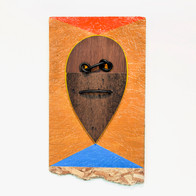no title, 2015 acrylic, vinyl adhesive paper, wood panel, and found objects on chipboard 69 x 13 x 28 in.