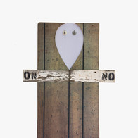 ON NO, 2013 acrylic paint on wall, metal hooks, wood, wood panel 34.5 x 26 in.