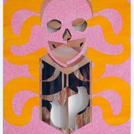 Embrace, 2006 acrylic, enamel, collage on wood 18 x 15.75 in.