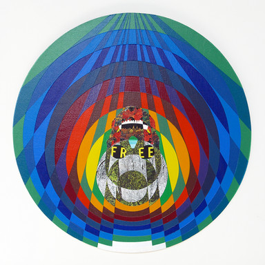 Free, 2009 acrylic and collage on wood 23 in. diameter