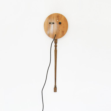 no title, 2016 electrical cord and found objects on wood 68 x 11.5 x 28 in.