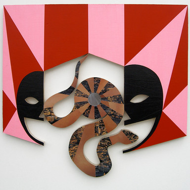 Echoing, 2008 acrylic, mirror and collage on wood 20 x 20 in.