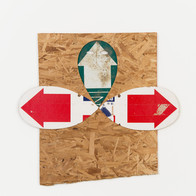 no title (arrows), 2014 found signage and wood 30 x 32 in.